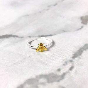 NEW Honey bee bumble bee gold silver ring